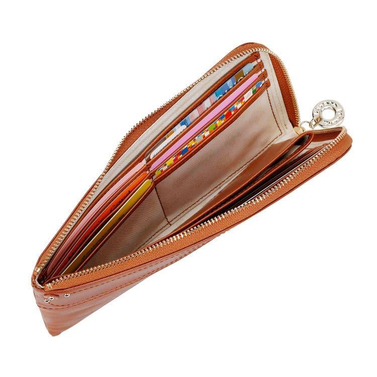 ≪カナナプロジェクト≫グロッシー シリーズ  L字ファスナー財布 女性が扱いやすい薄マチ コンパクトなのに多機能で大人気 34932