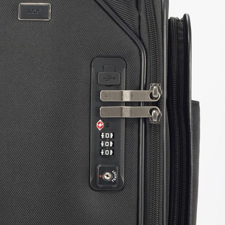 ≪ ace./エース≫ フレックスルーフ USBポート搭載ヨコ型キャリーケース 28リットル PC収納対応 機内持込み対応サイズ/4輪 55595