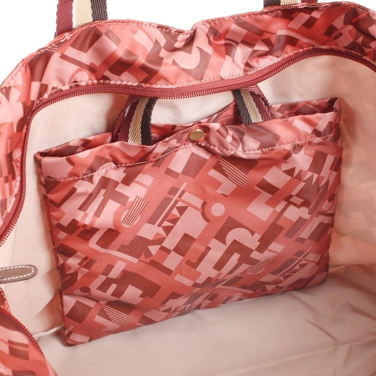 ≪カナナプロジェクトコレクション≫ストライプフォールド☆普段に旅行に便利♪折りたたみトートバッグ大 55732