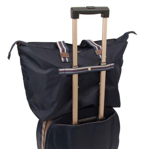 ≪カナナプロジェクト コレクション≫ストライプフォールド☆普段に旅行に便利♪折りたたみトートバッグ大 54912