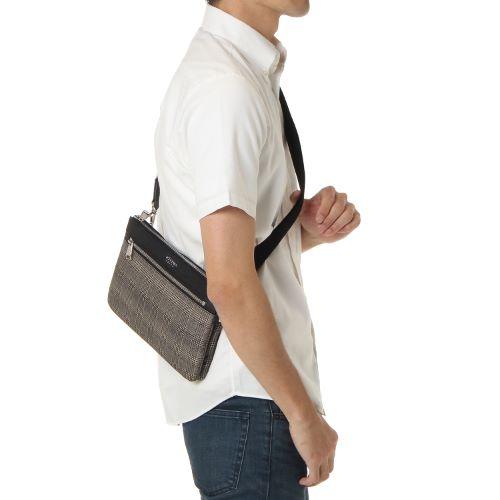 ≪ultima TOKYO/ウルティマ トーキョー≫3way スマートバッグF◇セカンドバッグ、ショルダーバッグ、バッグinバッグの3通り マチ無しタイプ (ナイロン×レザー素材)  77762