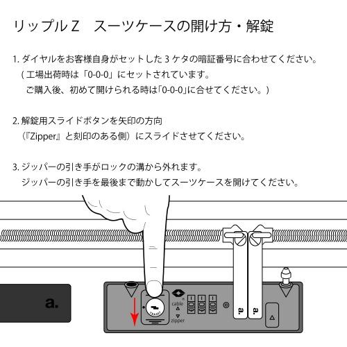 ≪ace. リップルZ≫ ジッパータイプ スーツケース 35リットル 機内持込サイズ キャスターストッパー/ワイヤー式ロック搭載 2~3泊の旅行に  06241