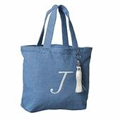 ≪ジュエルナローズ≫定番イニシャルトートLight Blue×ホワイトタッセル/スカイブルー J